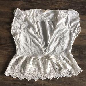 Love Stitch Tops - White wrap around eyelet lace blouse